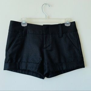 Alice + Olivia • Black Shimmer Cuff Shorts Small/2